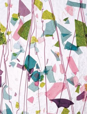 Deep Pink, Plum, Spring Green, Aqua (with Pink Streamers) on Clear Clear Base Collage